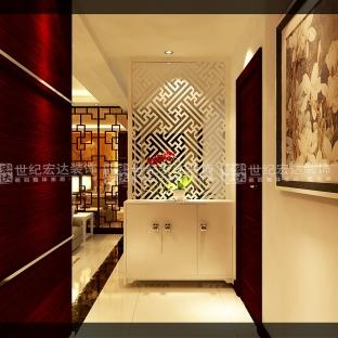 现代中式三居室玄关鞋柜装修效果图大全高清图片