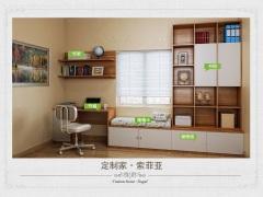 SY3401索菲亚全屋定制书房:书桌、书柜、榻榻米,顶柜