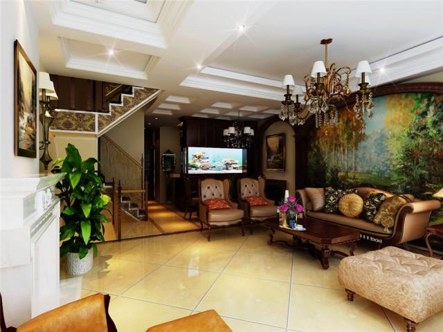欧美风情别墅客厅背景墙装修效果图欣赏