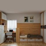 索菲亚 胡桃木田园卧室榻榻米书柜电脑桌组合 全屋定制图片