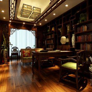 中式古典三居室书房背景墙装修图片欣赏图片