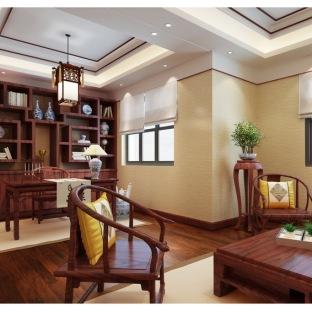 中式书房背景墙装修效果图大全2014图片-搜房网中式墙