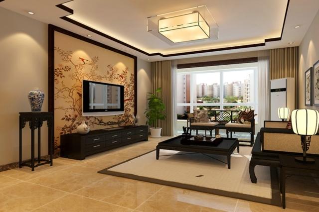 新中式风格客厅背景墙装修效果图大全