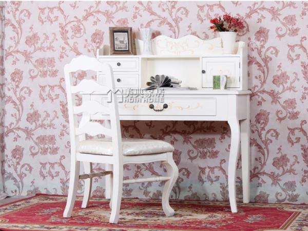 田园浅白色手绘写字桌