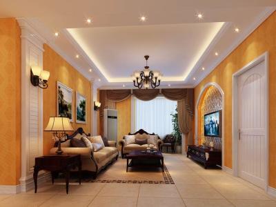 欧美风情-135平米三居室装修样板间