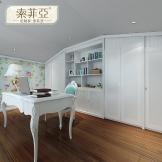 索菲亚定制家系列阁楼艺术书房 简欧风格 书柜 书桌