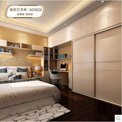 索菲亚主卧房家具设计 定制衣柜 书柜 转角书桌双人床组合定制