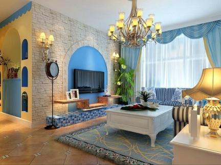 地中海风格二居室客厅吊顶装修效果图大全