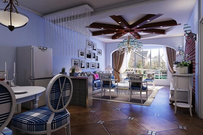 地中海风格-101平米二居室-装修样板间