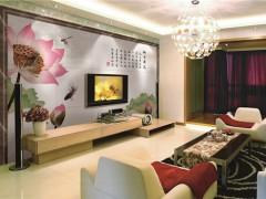 彩虹石瓷砖背景墙---映日荷花