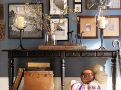 帝维森欧美式仿古玄关桌 实木客厅边桌 沙发背几DWS-034