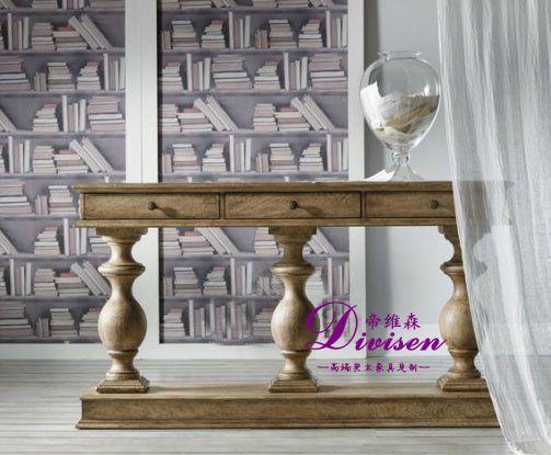 帝维森外贸实木橡木玄关 门厅家具美式乡村展示台DWS-085