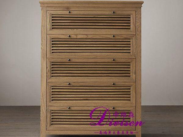 帝维森出口法国实木家具五抽斗柜 橡木柜收纳柜DW-067