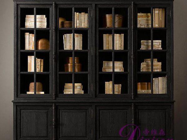 帝维森法式乡村实木复古家具橡木储物柜多层书柜DWS-117
