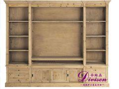 帝维森美式乡村复古水曲柳电视柜书柜组合柜做旧DWS-136