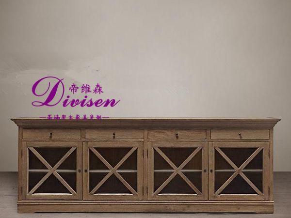帝维森橡木全实木雕花家餐边柜储物柜电视柜酒柜DWS-106