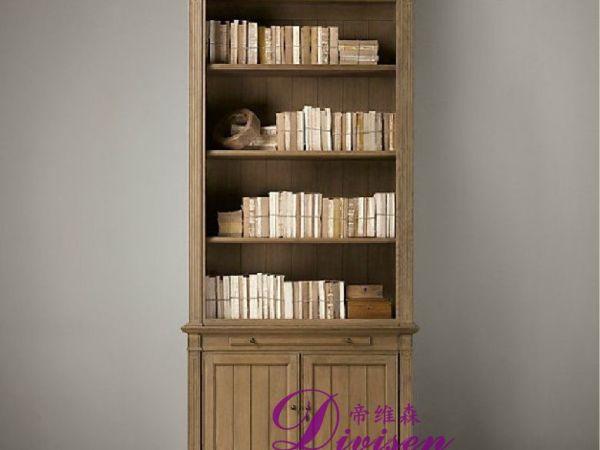 帝维森美式乡村实木书柜两门展示柜储物柜书架 DWS-176