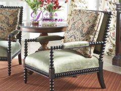 帝维森美式乡村伊森艾伦客厅实木软包休闲椅沙发椅DWS-168