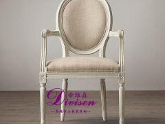 帝维森美式乡村实木餐椅法式复古带扶手白色圆背椅DWS-170