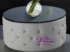 帝维森欧式白色皮衣茶几 黑色钢化玻璃 圆形茶几DWS-187