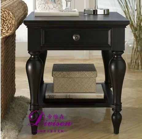 帝维森美式乡村实木家具 专业定制边几角几床头柜DWS-174