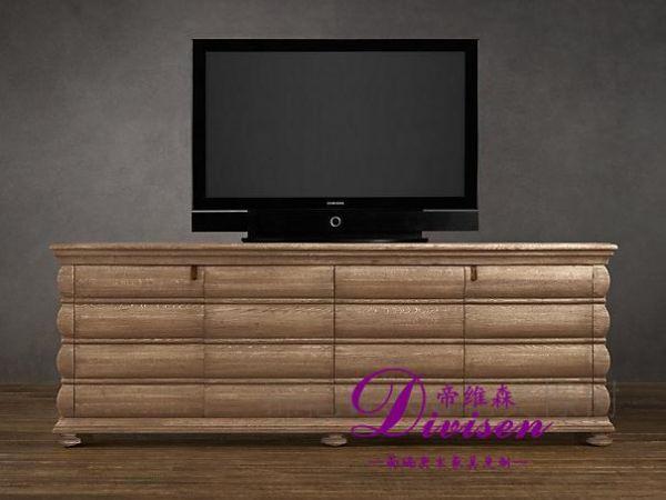 帝维森法式乡村多抽屉做旧风格外贸出口电视柜DWS-193