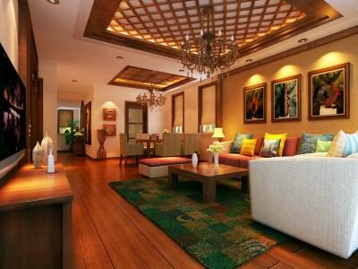 东南亚风格-180平米五居室装修样板间