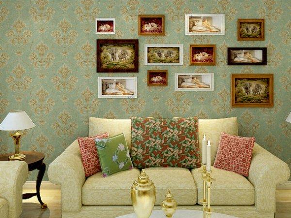 爱饰家壁纸 高档纯纸 零污染 欧式风格墙纸 客厅 卧室背景墙