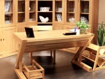 尚岛木业SD-z01实木书桌 现代简约榆木实木书桌图片