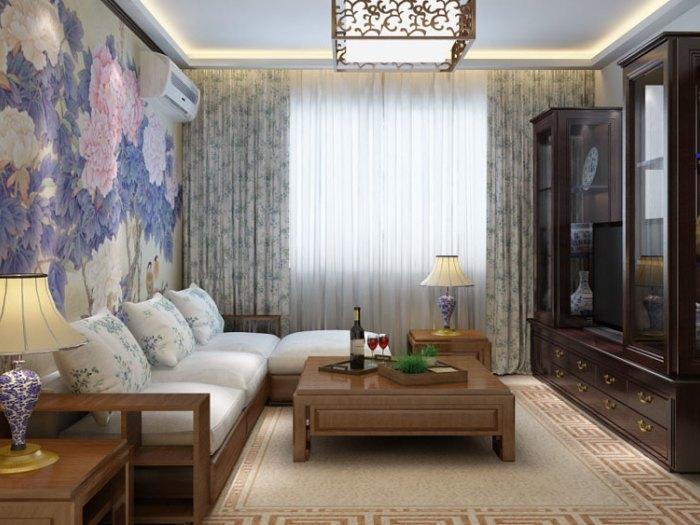 中式风格-129平米三居室-装修样板间