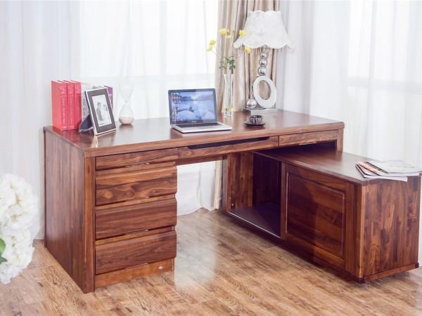 华日家具印象胡桃B03书桌字台(包含副柜)