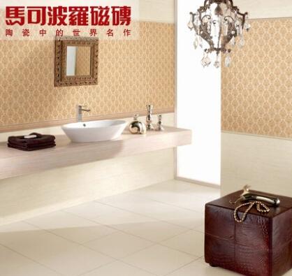 马可波罗瓷片皇家米黄厨房卫生间特价直销浅色砖300*600