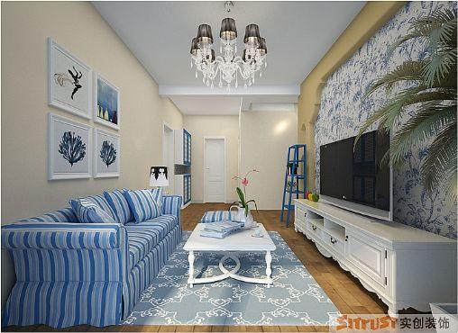 地中海风格-81.93平米二居室-装修样板间