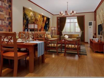 东南亚风格-126.46平米三居室装修样板间