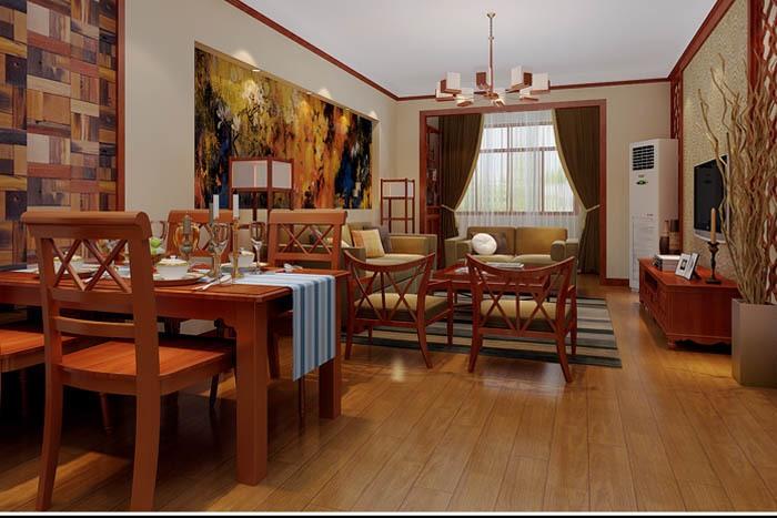 东南亚风格-126.46平米三居室-装修样板间