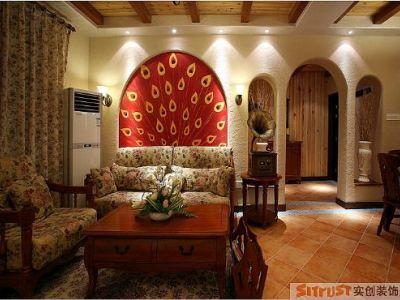 东南亚风格-146.75平米三居室装修样板间