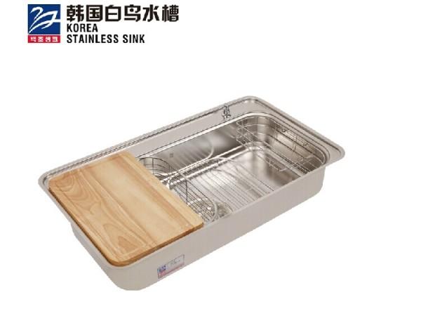 韩国白鸟(E)3D900水槽 原装进口 哑银环保 台下盆
