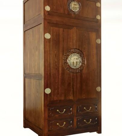 一木一心 祥云环顶箱衣柜 实木中式衣柜 明清古典仿古家具