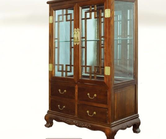 一木一心 虎腿双门展示柜 实木家具中式展示柜
