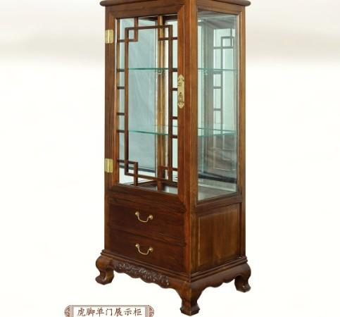 一木一心 虎腿单门展示柜 老榆木实木家具