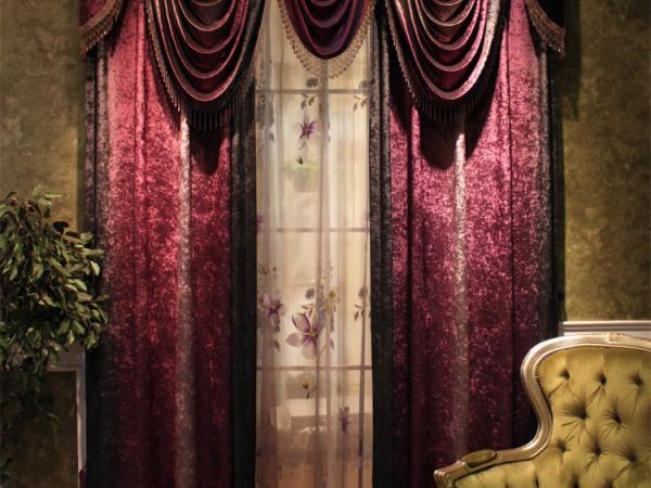 韩国绒 韩国进口紫色渐变绒高档卧室窗帘 三度渐变