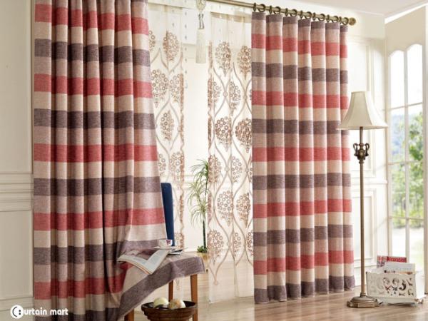 米色咖色粉色横条布帘亚麻中式客厅卧室443