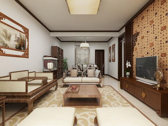 中式风格-180平米二居室-装修样板间