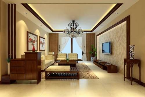 天骄华庭三居室新中式风格装修效果图图片