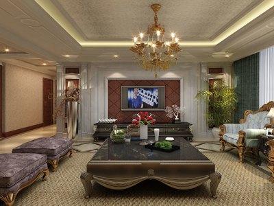 西式古典-140.33平米三居室装修样板间