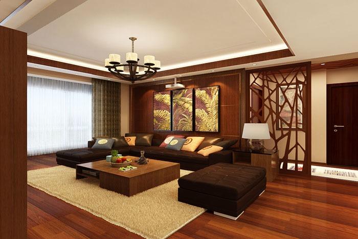 东南亚风格-120.3平米三居室-装修样板间