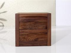 北欧篱笆BO-H-A01纯黑胡桃木实木床头柜