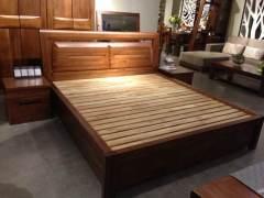 梓乔家具-1床 2床头柜卧室标配-真正无辅材的实木家具-