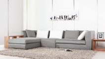 现代简约风格,曲美家具,灰色简约沙发图片