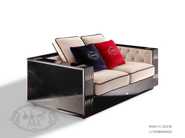 后现代奢华阿玛尼黑鳄纹双人沙发